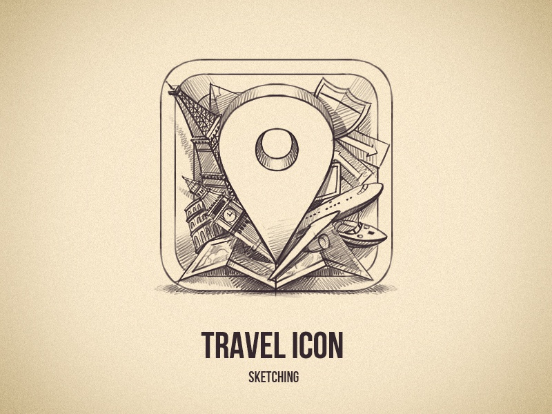 Sketching an Icon ios icon travel app sketch sketching