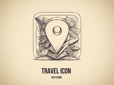 Travel icon sketching