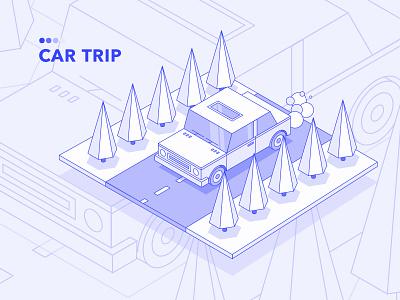 Car Trip clean design vector isometry trip car isometric illustration isometric flat icon illustration