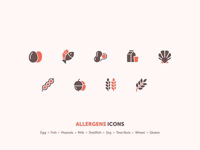 Allergen Icons branding design flat vector icon