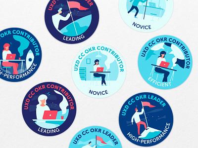 Badges rewards badges branding logo design flat vector illustration icon