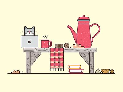 Get Ready For Winter vector illustration icon tea autumn winter morning cat