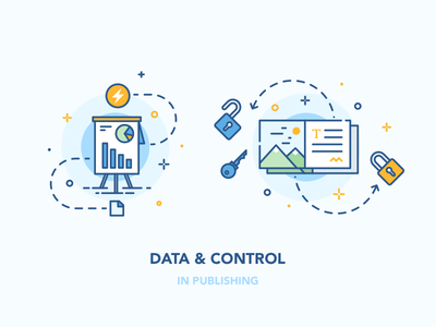 Data and Control security statistics article publish control data icon illustration vector
