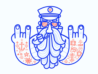 Cap captain artwork t-shirt print illustration