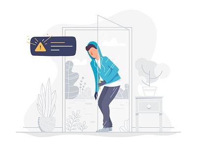 Burglar Alarm apartment notification illustration alarm burglar