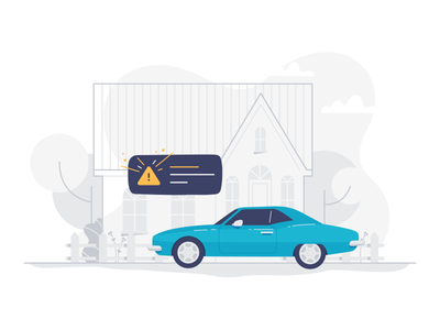 Car Detection alarm illustration notification house car