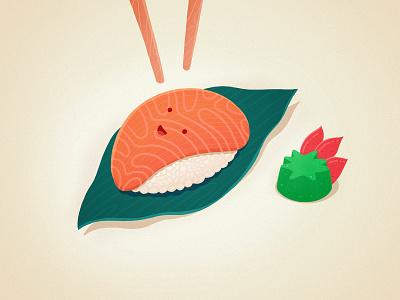 Sushi Time tasty smile wasabi cute procreate sushi illustration