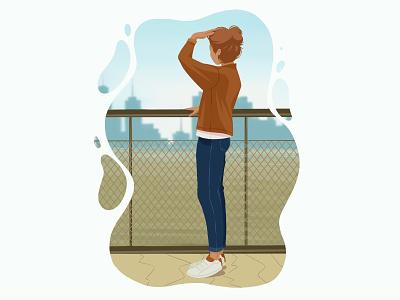 On The Bridge flat egorkosten artwork illustration