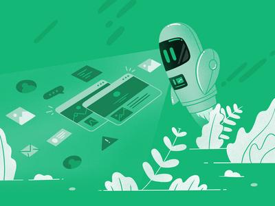 Scanning styleguide scanning robot style design flat egoraz illustration icon
