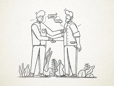 Handshake search explore progress sketch egorkosten illustration
