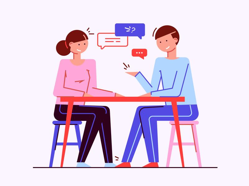 Interview flatstyle artwork sketch people interview egorkosten vector illustration
