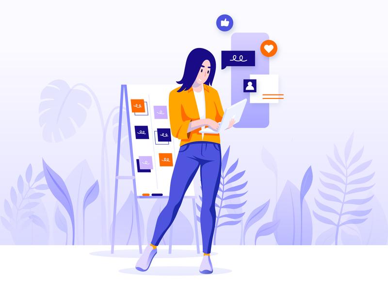 Experience designer ui design flora ux ui designer design flat vector illustration icon