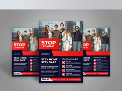 STOP COVID-19 Flyer Design Tamplate (coronavirus)
