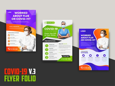 COVID 19 Flyer Folio V.3 microbiology medicine medical flyer medical mask marketing flyer marketing infection flyers pack flat design emergency doctor covid-19 virus coronavirus prevention flyer coronavirus corona virus awareness flyer corona virus corona flyer ads