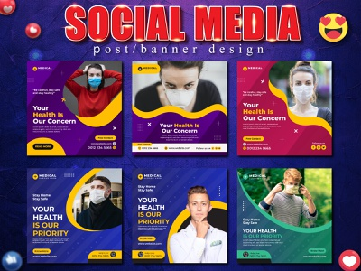 Medical Social Media Post & Square Flyer Templates checkup ambulance element white green concept logo sign isolated symbol banner bank vector icon layout graphic credit blue web template