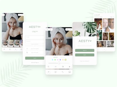 Aesty - Photo editing app modern design green photography minimalism clean design photo editor login screen user inteface sign in mobile ui plant ui photo edit neumorphism neumorphic app