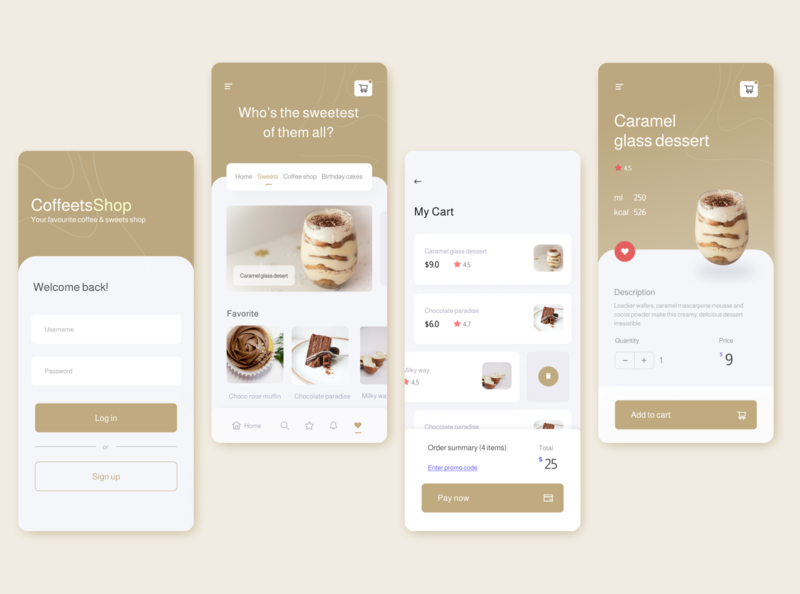 Coffets - pastry and coffee shop mobile application mobile ui app design coffee app mobile app simple clean interface simple design ui design uiux ui design ecommerce ecommerce shop pastry shop coffee shop coffeeshop clean ui modern design dailyui clean design app