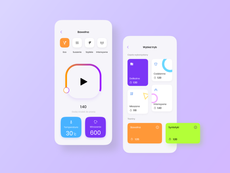 Washing machine app design ui  ux clean laundry app design smart app washing machine