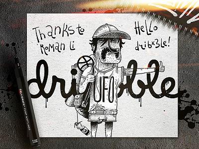HelloDribbble! tattoo sketch paint paper marker ufo illustration inks dribbble hello