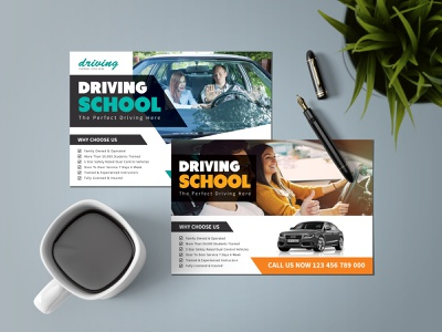 Driving School Postcard Template design maketing materials template training institute training center safety drive safety drive dribbble car training academy car training academy driving school print template download print template download postcard print template