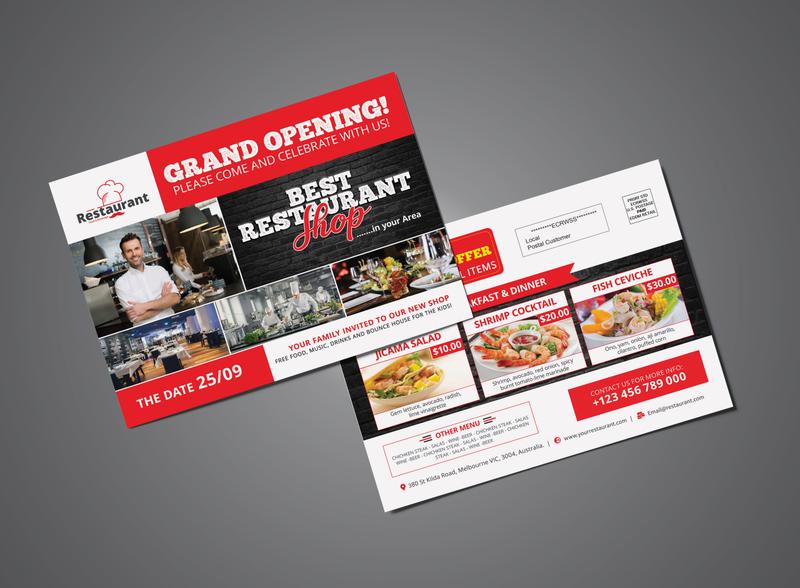 Grand Opening Restaurant Shop EDDM Postcard