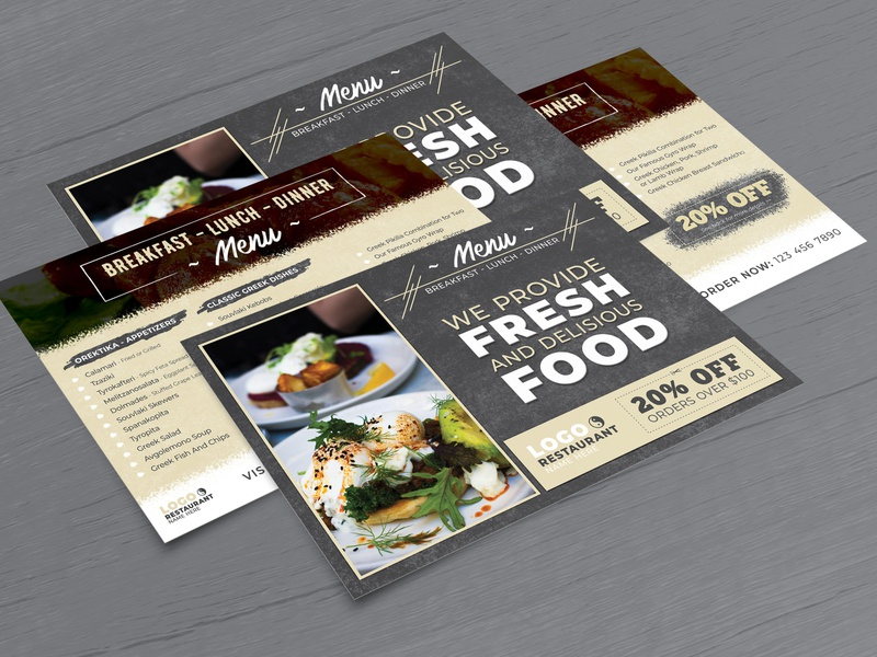Restaurant Menu Postcard & Direct Mail EDDM Template breakfast lunch dinner menu foodagency foodbrand creative design eddm postcard graphic design design branding restaurant postcard menu direct mail eddm postcard design postcard food corner food corner fast food restaurant menu design restaurant branding