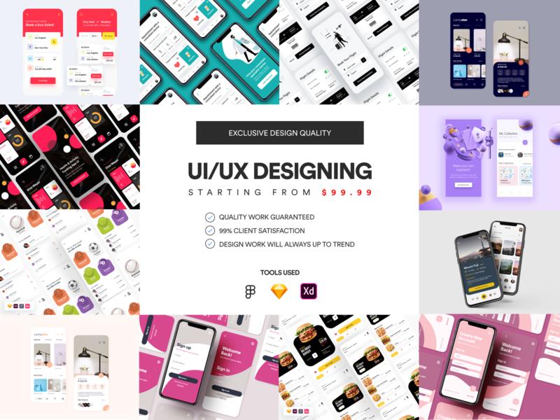 UI/UX Designing - Starting from $99.99 sketch figma ux app ui kit ui app ui ux designer ui ux design app ui ux app ui