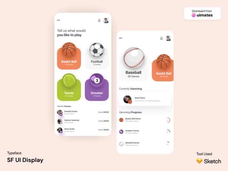 Sports App UI Design Concept game app ui games sports sport app ui sketch figma ux app ui kit ui app ui ux designer ui ux design app ui ux app ui