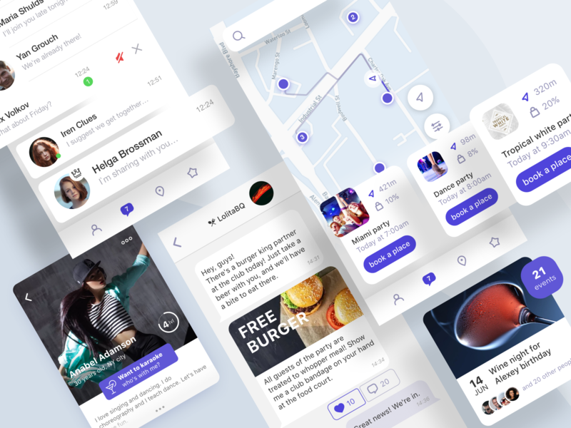 App Social Events ux ui navigation events social map skuratovteam minimal account personal page community chat design mobile