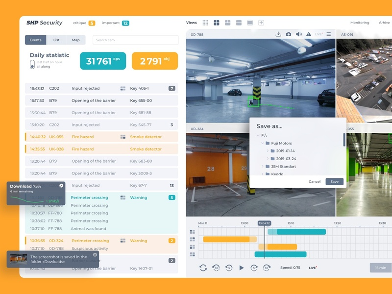 CCTV Design web design ux ui system statistics skuratovteam service security interface saas report design product monitoring desktop light design cctv camera branding app