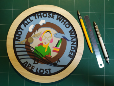 Not all those who wander are lost circle music lord of the rings golden snitch harry potter coffee books flying paper cutting paper cut paper handcrafts handmade