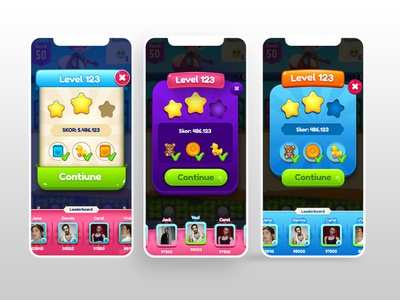 Level Completed Popup Ui-Ux toy candy sugar cartoon mobile design mobile ui mobilgame appstore android ios game design game art gui ux ui game leveldesign popup level