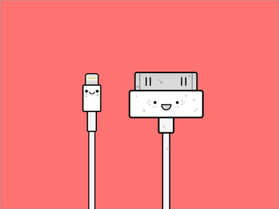 Family young old ipad iphone illustration flat cable cute