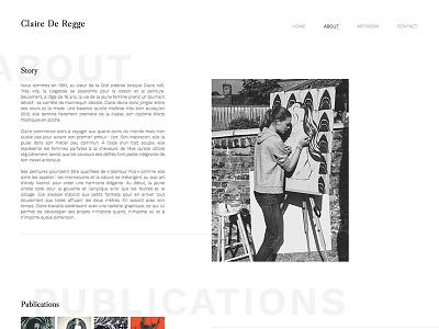 Claire De Regge - About white black classy page about design web minimal