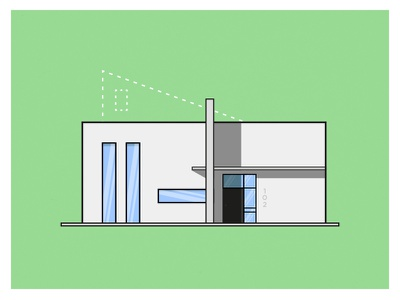 Extension illustration architecture flat modern house