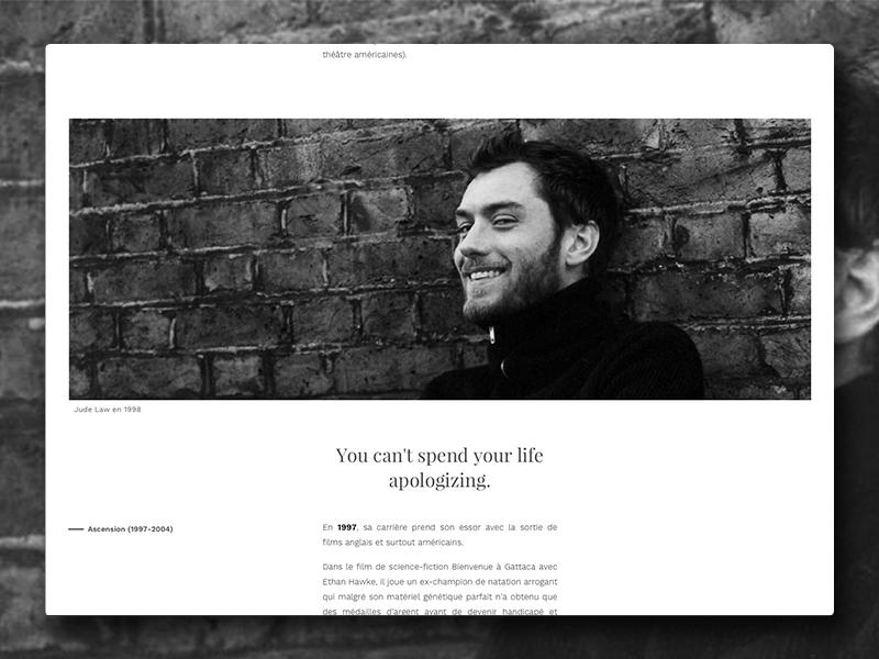 Jude Law fictive Website portfolio black design law jude white typography minimal web