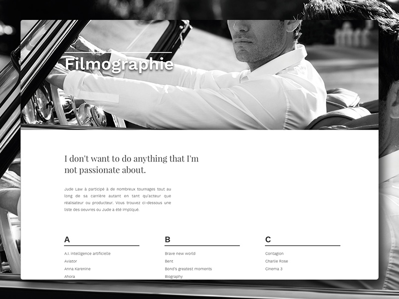 Jude Law fictive Website - Filmographie filmography web minimal typography white jude law design black portfolio