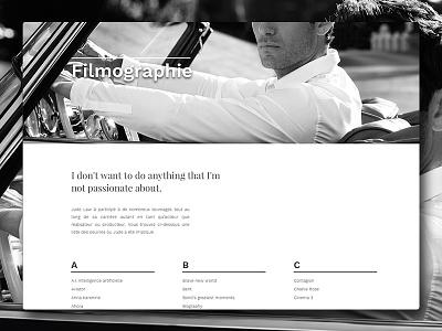 Jude Law fictive Website - Filmographie filmography web minimal typography white jude law design black portfolio