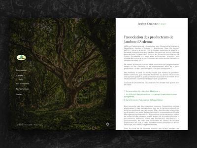 Jambon D'Ardenne - Informations white black classy page artworks design web minimal text