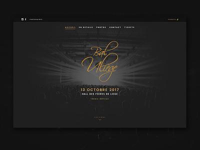 Bal ULiège - Homepage prom tickets party webdesign web projet minimal classy bal