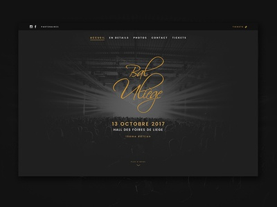 Bal ULiège - Homepage prom tickets party webdesign web projet minimal classy bal