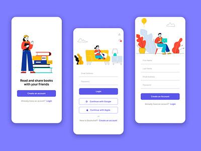 Bookshelf - Login, Registration app flat product design ux ui dailyui 001 illustration branding create account register signup login dailyui