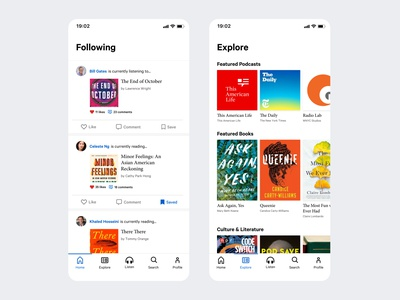 Books and Podcasts App minimal simple design ux uiux ui mobile app podcasts books