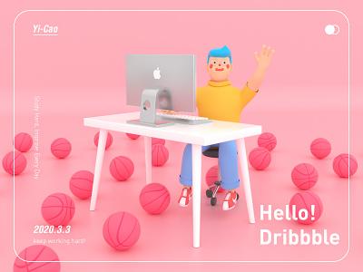 hello!dribbble illustrator flat web ux apple design basketball keyboard character computer 3d art app logo illustration