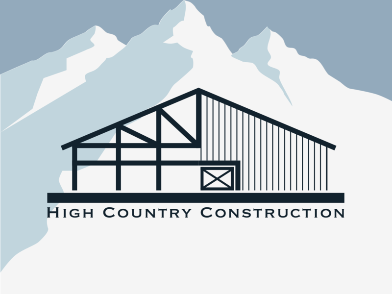 High Country Construction Logo With Mountains