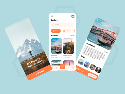 Travel adventure explore destination travel travelling design graphic design concept mobile app ux ui uiux android ios app user experience application user interface