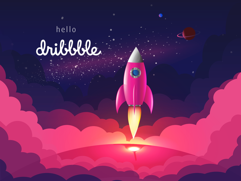 Hello, Dribbblers! landing rocket hello dribbble hello