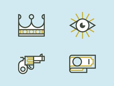 Sins icon pictogram illustration eye gun crown banknote
