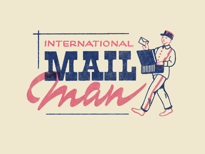 Int. Mail Man icons signpainting mailman post ephemera type illustration lettering typography