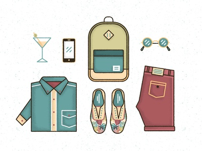Tropical Outfit  illustration icon tropical shoes shirt shorts glasses phone drink backpack clothes